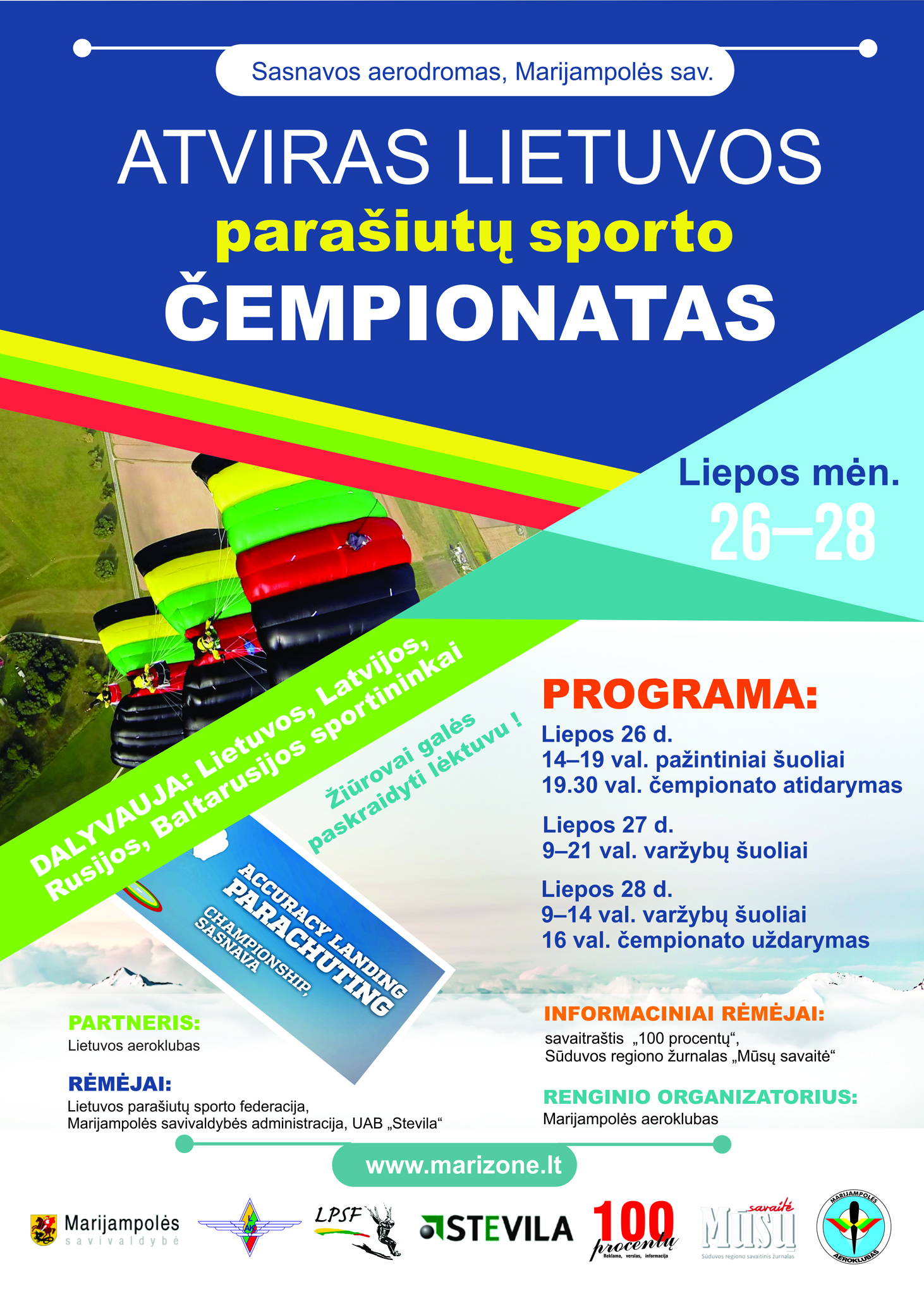 Atviras Lietuvos parašiutų sporto čempionatas, Liepos 26-29